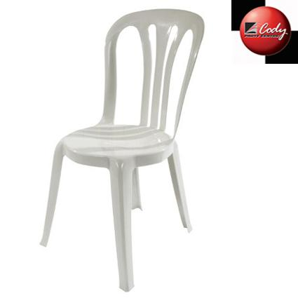 Chair - Plastic Bistro - White at Cody Party Store & Rentals
