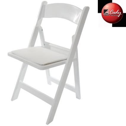 Chair - Plastic Folding Resin Chair w Cushion at Cody Party Store & Rentals