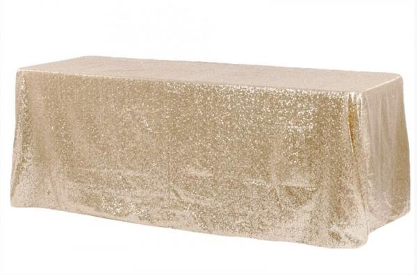 """90x132"""" Rectangular Sequin Table linen - Champagne at Cody Party Store & Rentals"""