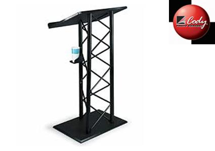 Lecturn Podium - Black Steel (no audio connection) at Cody Party Store & Rentals