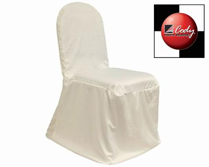Chair Cover Stretch Scuba Ivory - Poly/Cotton at Cody Party Store & Rentals