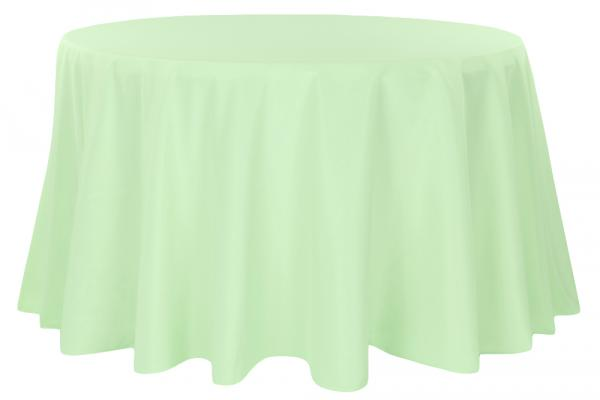 """90"""" Round Mint Green Tablecloth - Poly at Cody Party Store & Rentals"""