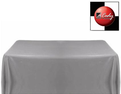 """Rectangle Silver Tablecloth (90x132"""") - Poly at Cody Party Store & Rentals"""