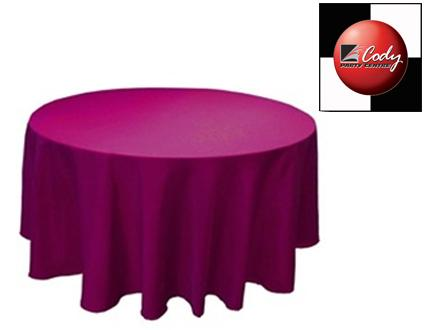 """90"""" Round Eggplant Tablecloth - Poly at Cody Party Store & Rentals"""
