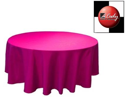 """90"""" Round Fuchsia Tablecloth - Poly at Cody Party Store & Rentals"""