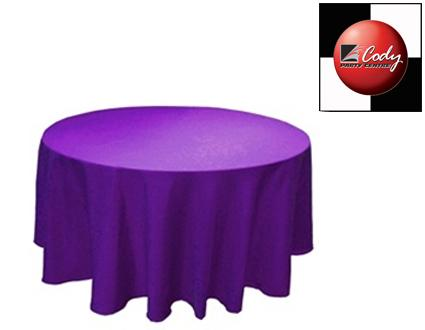 """90"""" Round Purple Tablecloth - Poly at Cody Party Store & Rentals"""