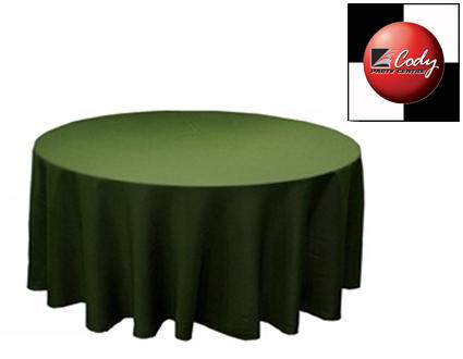 """90"""" Round Willow Green Tablecloth - Poly at Cody Party Store & Rentals"""