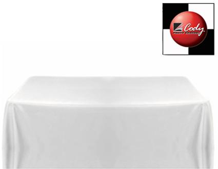 """Rectangle White Tablecloth (90x156"""") - Poly at Cody Party Store & Rentals"""