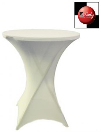Cocktail White Table Cover - Spandex at Cody Party Store & Rentals