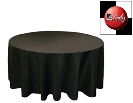 """132"""" Round Black Tablecloth - Poly at Cody Party Store & Rentals"""