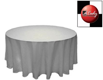 """132"""" Round White Tablecloth - Poly at Cody Party Store & Rentals"""