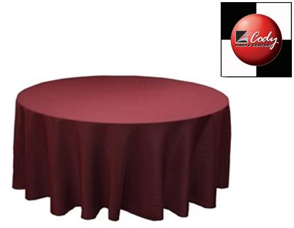 """90"""" Round Burgundy Tablecloth - Poly at Cody Party Store & Rentals"""