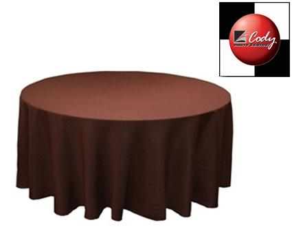 """90"""" Round Chocolate Tablecloth - Poly at Cody Party Store & Rentals"""