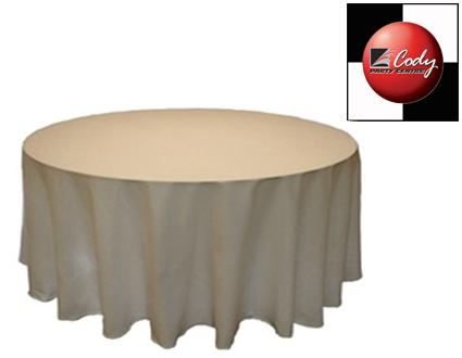 """90"""" Round Ivory Tablecloth - Poly at Cody Party Store & Rentals"""