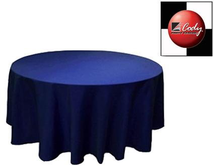 """90"""" Round Navy Blue Tablecloth - Poly at Cody Party Store & Rentals"""