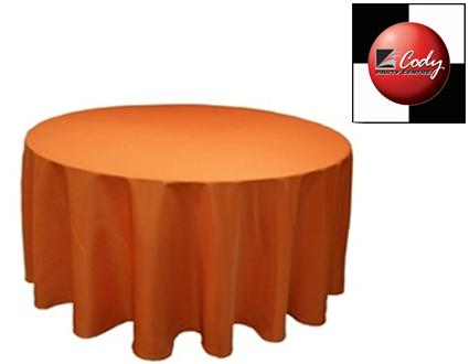 """90"""" Round Orange Tablecloth - Poly at Cody Party Store & Rentals"""
