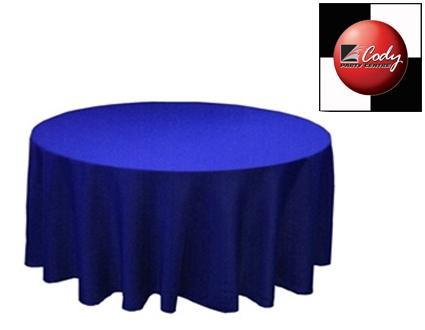 """90"""" Round Royal Blue Tablecloth - Poly at Cody Party Store & Rentals"""