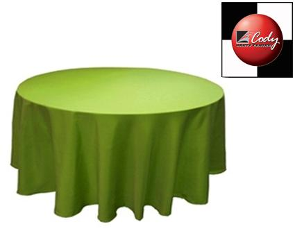 """90"""" Round Sage Green Tablecloth - Poly at Cody Party Store & Rentals"""