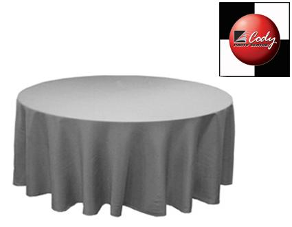 """90"""" Round Silver Tablecloth - Poly at Cody Party Store & Rentals"""