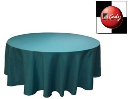 """90"""" Round Turquoise Tablecloth - Poly at Cody Party Store & Rentals"""