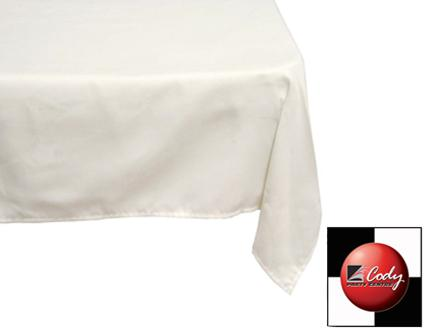 """Square Ivory Tablecloth (70x70"""") at Cody Party Store & Rentals"""