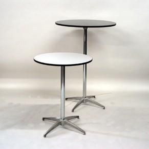 """Table Round Cocktail - 24"""" Wide Top (polished steel) at Cody Party Store & Rentals"""
